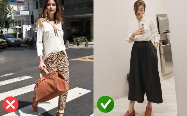 Với áo sơ mi trắng bạn nên kết hợp với quần culottes hơn là quần da báo