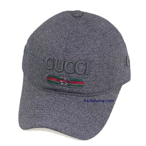 Mũ gucci xám đậm vải xịn cao cấp