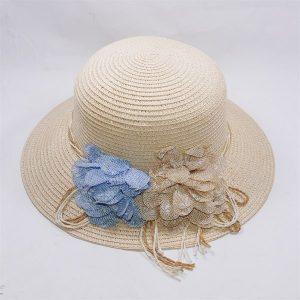 Nón đi biển nơ 2 hoa giá rẻ