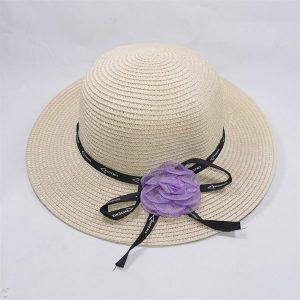 Nón đi biển nơ hoa màu tím giá rẻ