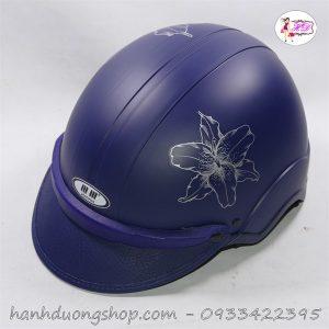 Mũ bảo hiểm in hoa độc đáo dễ thương màu xanh đen