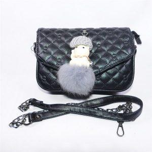 Túi xách da mềm kèm gấu bông độc đáo - Hạnh Dương Shop