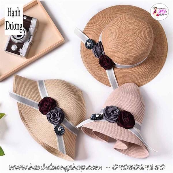 Mũ đi biển nữ nơ hoa dễ thương