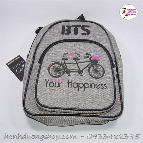 Balo vải thêu hình xe đạp Happiness - Hạnh Dương Shop